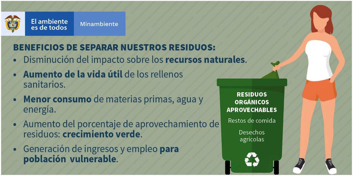 """Minambiente Colombia 🇨🇴 on Twitter: """"Son muchos los beneficios  ambientales, sociales y económicos que podemos generar como colombianos, si  separamos los residuos de acuerdo al código de colores (blanco, negro y  verde)."""