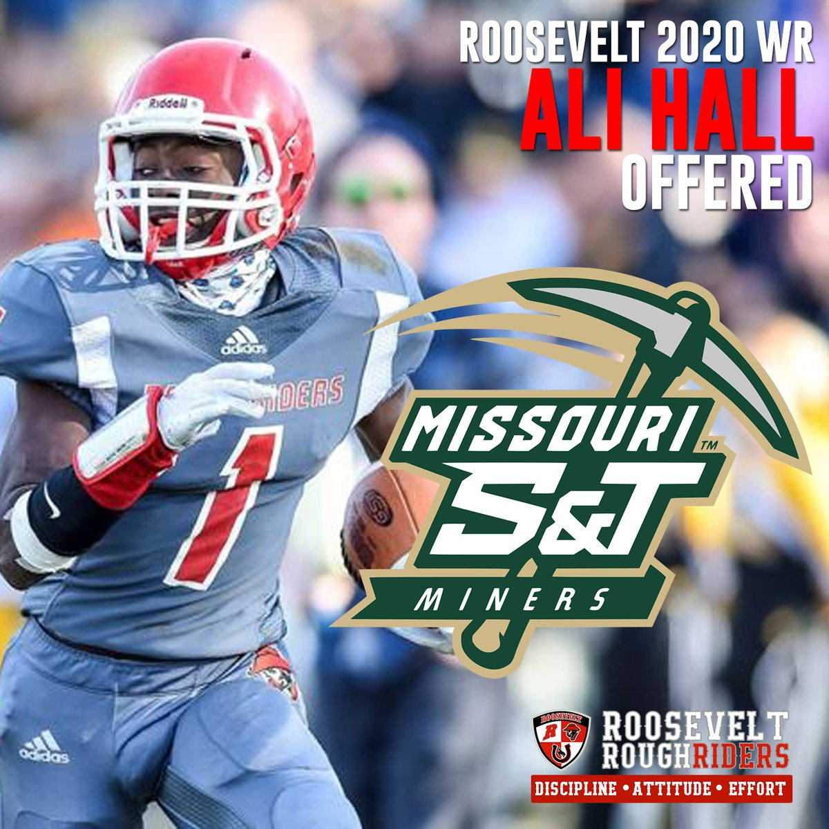 Congrats to @ali_x_hall of @RRFootballSTL for picking up his first offer from @SandTFootball