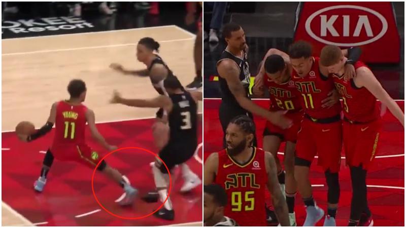 【影片】特雷楊踩到對手扭傷右腳,表情痛苦被隊友攙扶離場,本場比賽不會回歸!