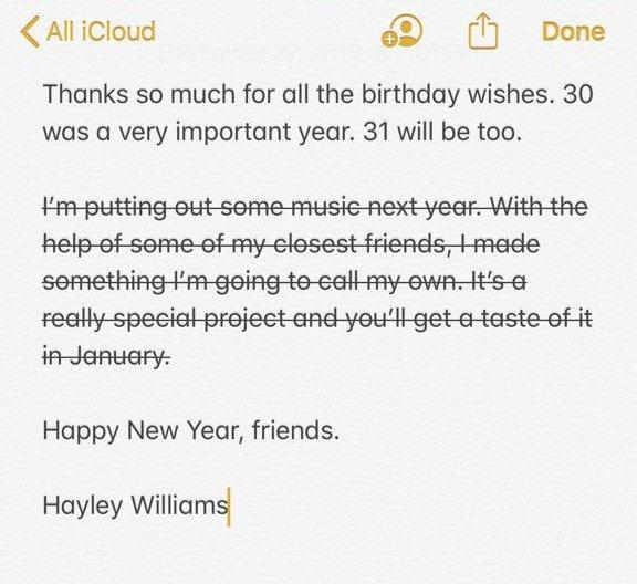 Em seu aniversário, Hayley Williams anuncia música nova para 2020; saiba mais