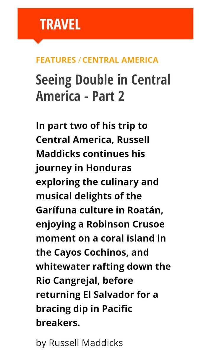 Follow me to #Honduras where I explore the culinary and musical delights of #Garífuna culture in #Roatán, the Robinson Crusoe islands of #CayosCochinos, & the whitewater rapids of the #RioCangrejal:    #VisitHonduras #VisitElSalvador #VisitCentralAmerica