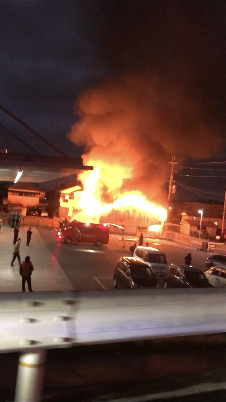 御所市大字東辻で火事が起きている現場の画像