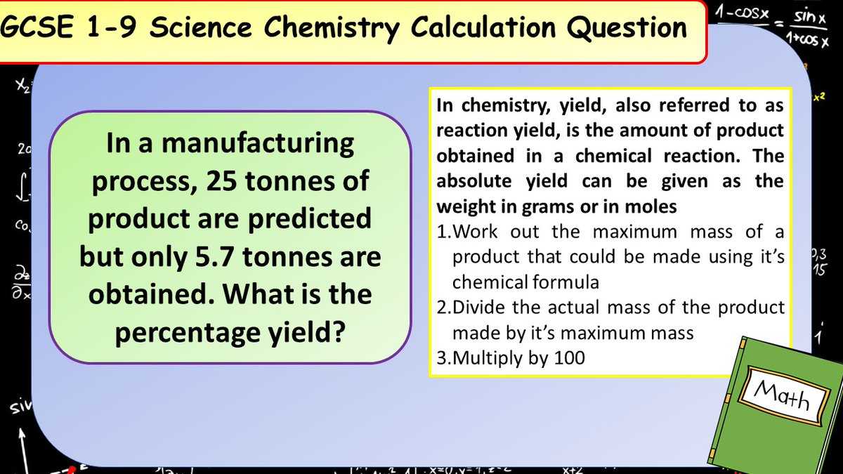 Dont forget about the extra maths content in the new GCSE Science spec! Have a go at this chemistry calculation practice question. #ukedchat #aqachemistry #aqascience #sciencerevision #revision #ocrchemistry #edexcelchemistry
