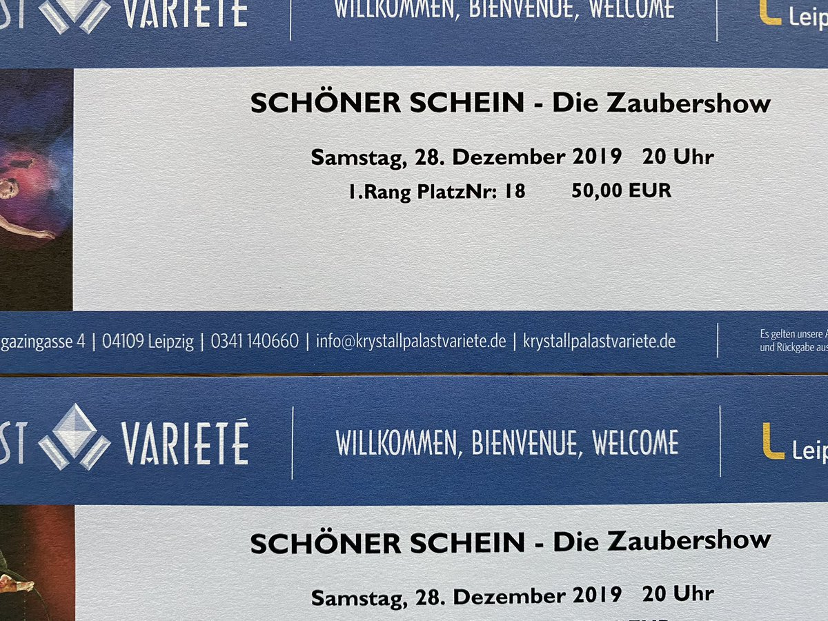 Leider können unsere Begleiter heute Abend nicht dabei sein. Wir haben 2 Tickets für die Show heute Abend um 20 Uhr für je 50€ abzugeben, vielleicht kennt jemand jemanden, der jemanden kennt. #Leipzig #varieté #kristallpalast #zaubershow #ticketpic.twitter.com/jMdwn9pork