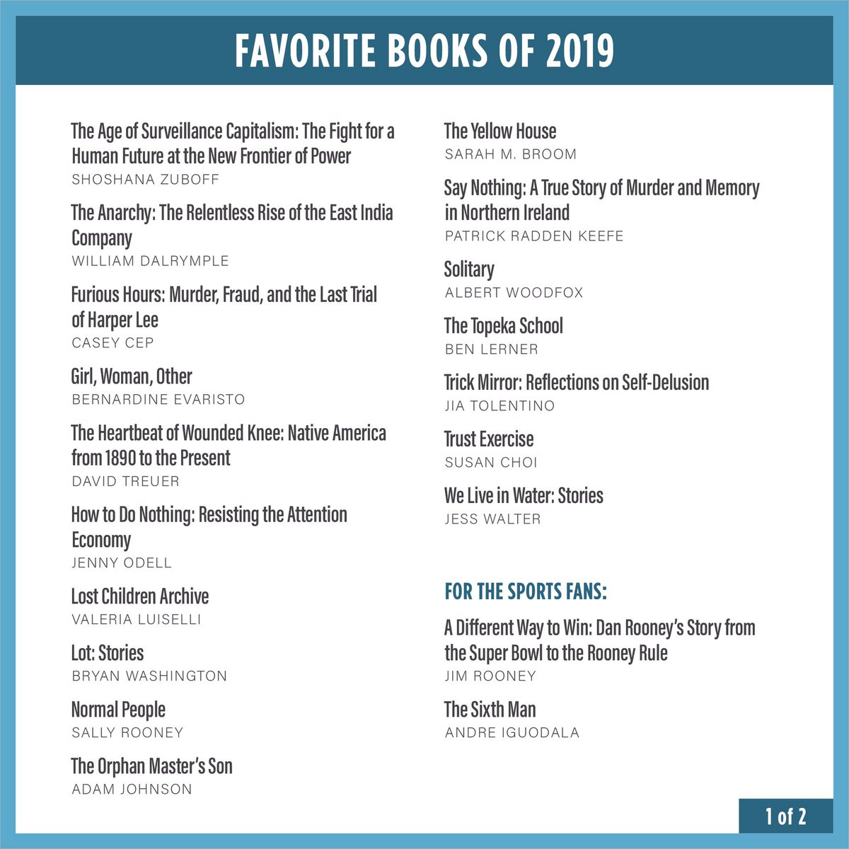 As we wind down 2019, I wanted to share with you my annual list of favorites that made the last year a little brighter. We'll start with books today — movies and music coming soon. I hope you enjoy these as much as I did.