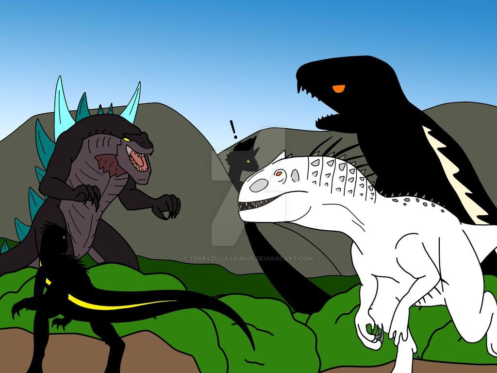 #digitaldrawing #crossoverfanart #JurassicWorld #Godzilla #photoshop #DinosaurHybrid #Kaiju #illustration  Two Dinosaur Hybrids have front row seats to a Kaiju Brawl!