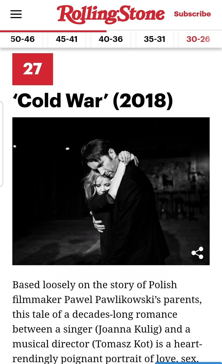 Congrats to #Pawlikowski's @ColdWarMovie for being included in the @RollingStone 's list of the 50 best #movies of the 2010s! #zimnawojna #joannakulig #tomaszkot #BestOfTheDecade #PolishMovies pic.twitter.com/tVf1olNywr