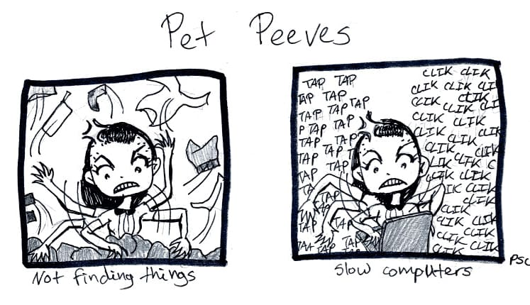 """""""Little Scenes from Nowhere""""  No.47: Pet Peeves These two things drive me batty. What are your pet peeves? #webcomic #sliceoflife #comix #petpeeves #littlescenesfromnowhere #lsfn #comicstrip #illustration #theillustrationroom #indiecomicsart #relatablecomics #webcomicartistpic.twitter.com/67S3fnoJYc"""