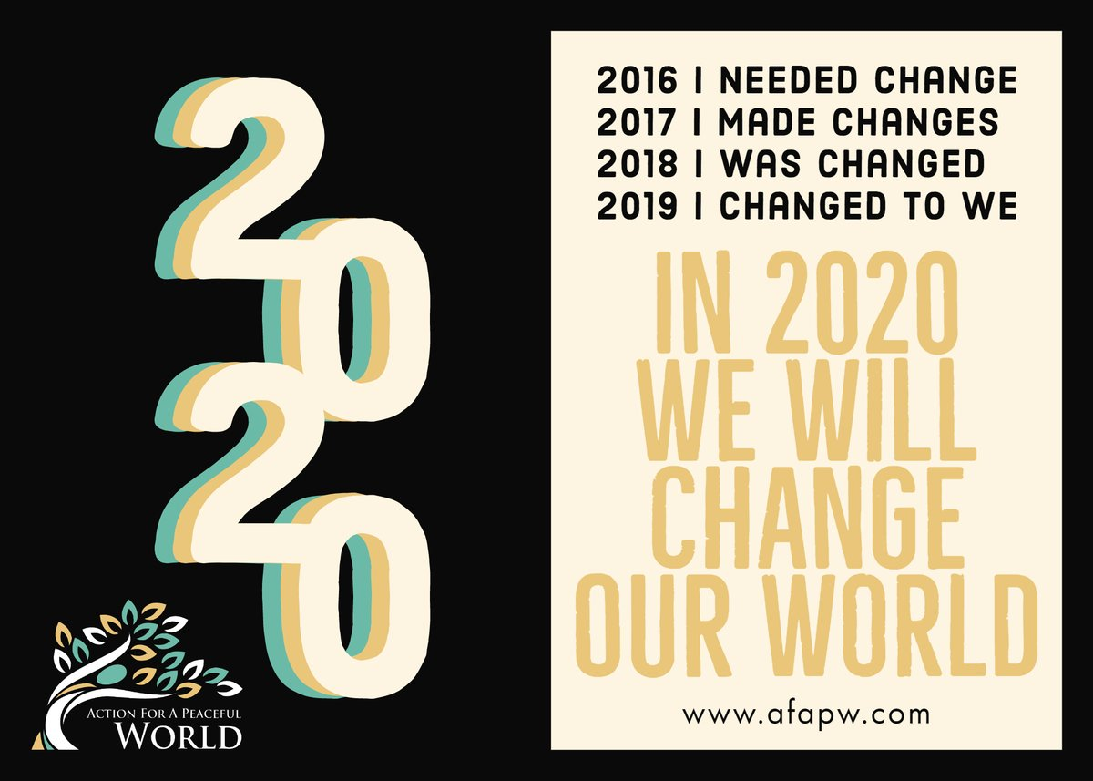 There are 3 days remaining in 2019, and I've been thinking a lot about what I'm most excited for in the year to come.    Are you ready for a change? In 2020 WE will...  #ChangeOurWorld #TakeAFAPW #BeBABS #Strive2THRIVE  https://t.co/a1orkzJ1gv https://t.co/Wm1e1cNV3c