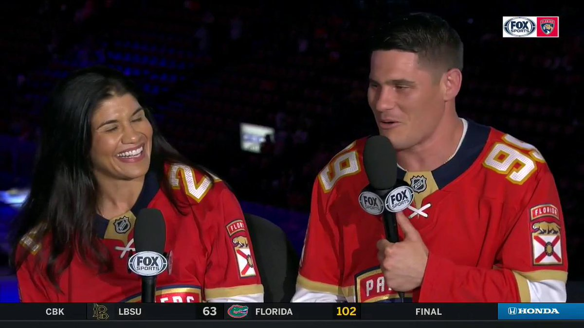 .@ufc fighters @jagatt & @CharlesRosaMMA join @JessBlaylock to talk some hockey, life in the cage, and their relationship with @FlaPanthers VP of Business Operations @ThorntonFDN during Territory Takeover. 👊 #FlaPanthers #OneTerritory #NHL