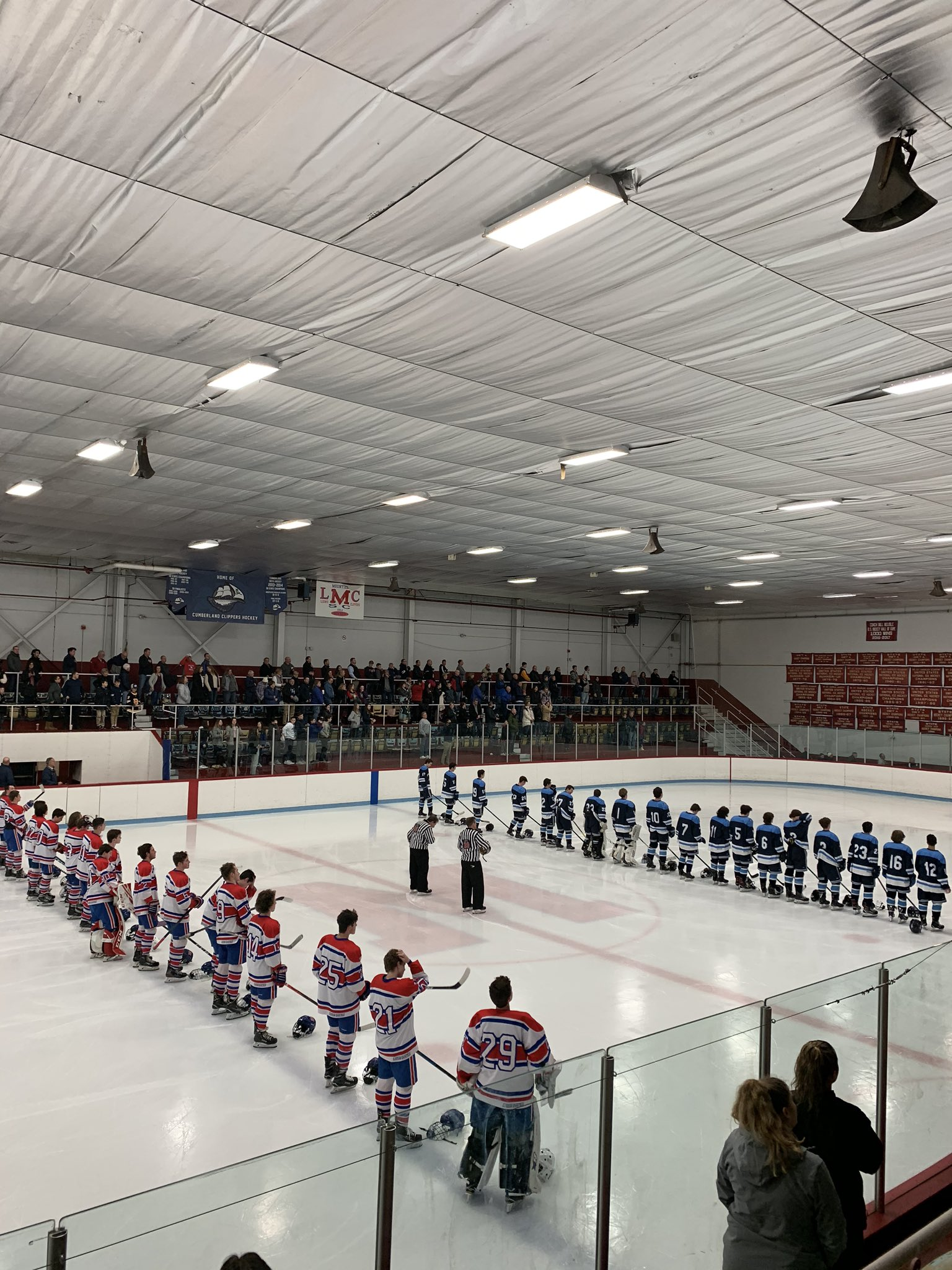 lined up before puck drop