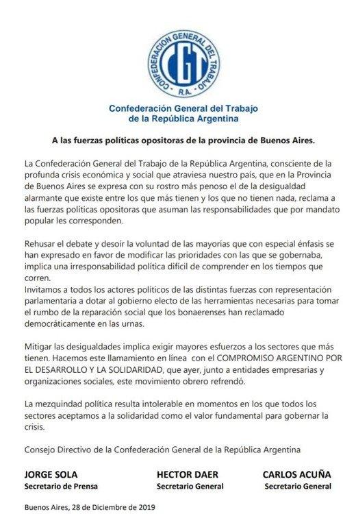 """La CGT mete presión para que salga la reforma impositiva: """"La mezquindad política resulta intolerable"""""""