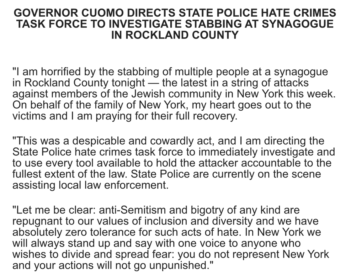 Andrew Cuomo On Twitter I Am Horrified By The Stabbing Of Multiple People At A Synagogue In Rockland County Tonight We Have Zero Tolerance For Anti Semitism In Ny And We Will Hold