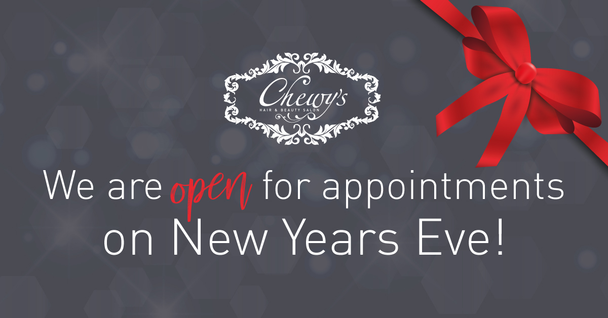 Remember that we are open for appointments on New Year's Eve!  Contact us on 01452 221866 to book an appointment!   #ChewysMoreThanJustASalon #BookYourAppointmentToday pic.twitter.com/4Uqp3ruZA4
