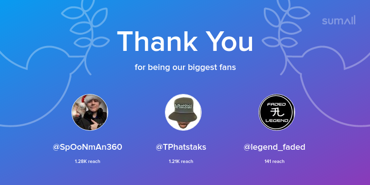 Our biggest fans this week: SpOoNmAn360, TPhatstaks, legend_faded. Thank you! via