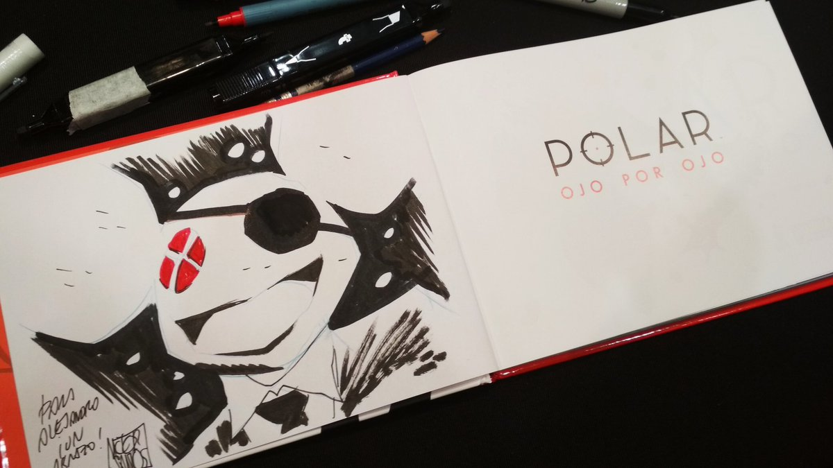 Some of the #Polar fans are also @deadmau5 fans, so this was a requested dedication in the latest @Heroes_ComicCon in Madrid  #polarmovie #Netflix #graphicnovel #camefromthecold #deadmau5 @DarkHorseComics #eyeforaneyepic.twitter.com/xlRP0f0gVW