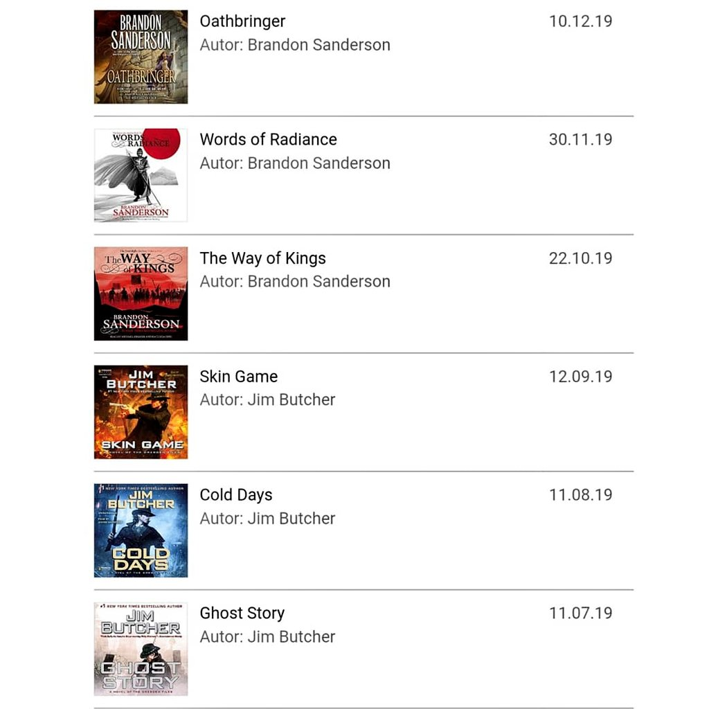 My 2019 in @audibleDE books 🤓 Read all 15 #TheDresdenFiles books and now I'm in the middle of book three of #TheStormlightArchives which I'll probably finish before Christmas. Next year both series will continue so looking forward to 2020 for that. 🥳 #audible #HearTheYear