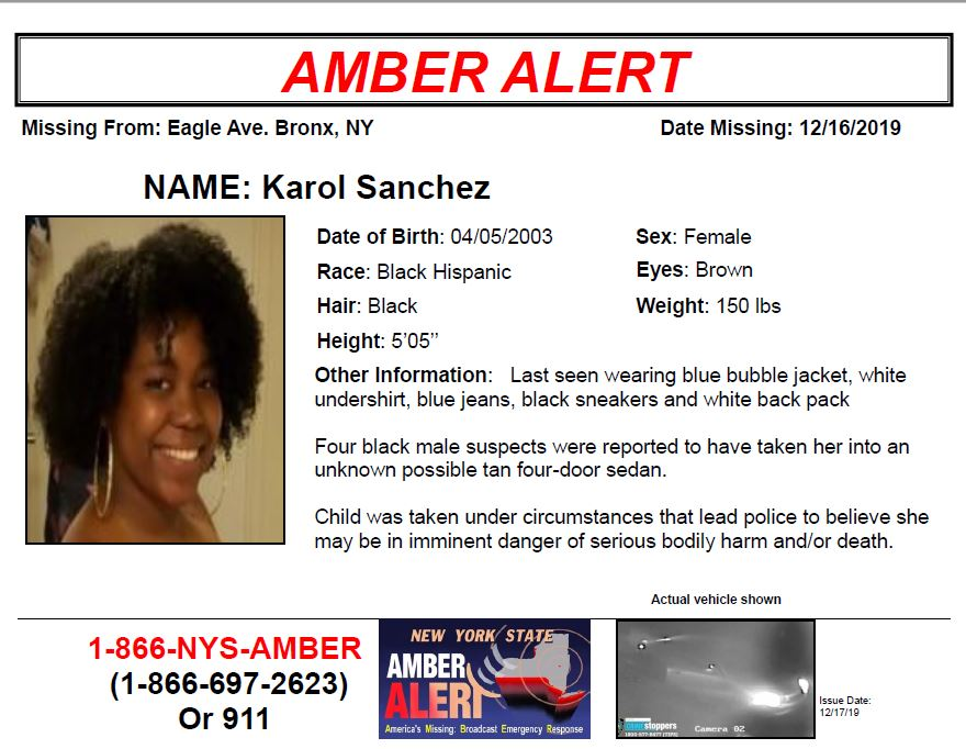Nycem Notify Nyc On Twitter Amber Alert Karol Sanchez 16 Year Old Black Hispanic Female From The Bronx Ny Child Was Taken Under Circumstances That Lead Police To Believe She May Be In