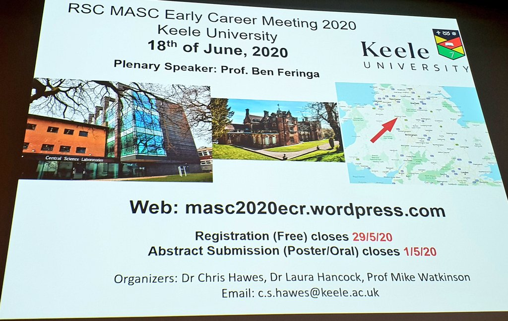 If you loved the experienced this yr, if you wish you came, then don't miss out next yr! Dave the dates for @RSC_MASC #ECRMASC2020 @KeeleUniversity in June 2020 (guest speaker @nobelprize #chemnobel @feringalab!) & #MASC2020 @LivUni in December...