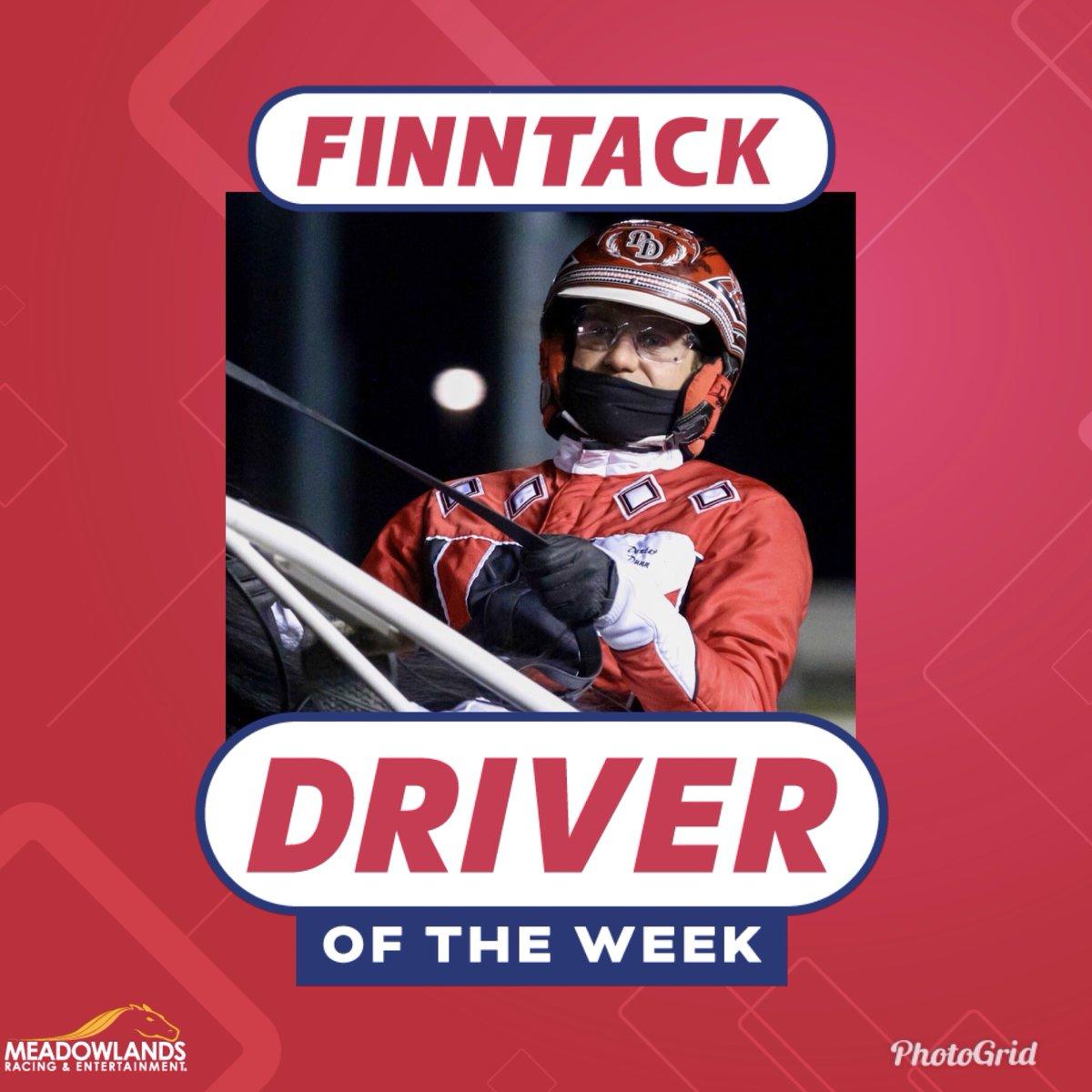 Finn Tack Driver of the Week  @FinnTack  @dexterdunn1  🔸26: 9-2-5 .453 last week 🔹Friday Fiver + Saturday Grandslam 🔸Nominated for Driver of the Year  #DriverOfTheWeek #HarnessRacing #PlayBigM