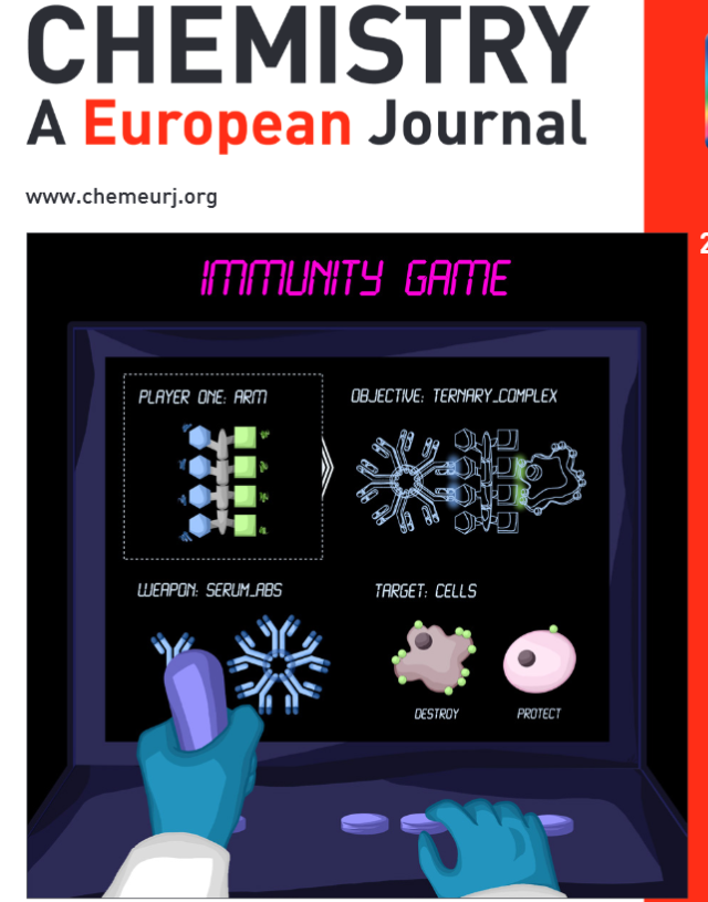 Congratulations to @MultiGlyco et @DavidGoyardGlyc and colleagues from @u_grenoblealpes and @INC_CNRS  for the very fine cover of @ChemEurJ  illustrating clearly how to recruit antibodies against cancer by multivalent glycocompounds https://t.co/NP1GNib0O4 https://t.co/J8SH5rCBVO