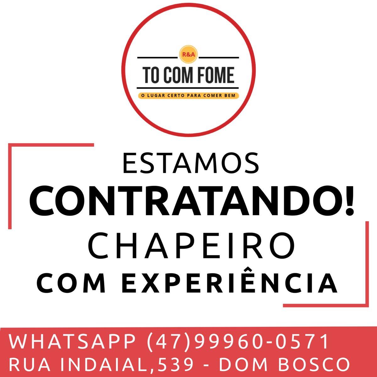 Viemos por meio desse post informa-los que estamos contratando chapeiro (masculino) com experiência, nos envie o currículo pelo e-mail: tocomfomeitajai@gmail.com e pelo WhatsApp: (47) 99960-0571 #chapeiro #vagadeemprego #empregositajaí #lanchonete  Ajudem a divulgar, deem rt pic.twitter.com/oNWnAmFtKm