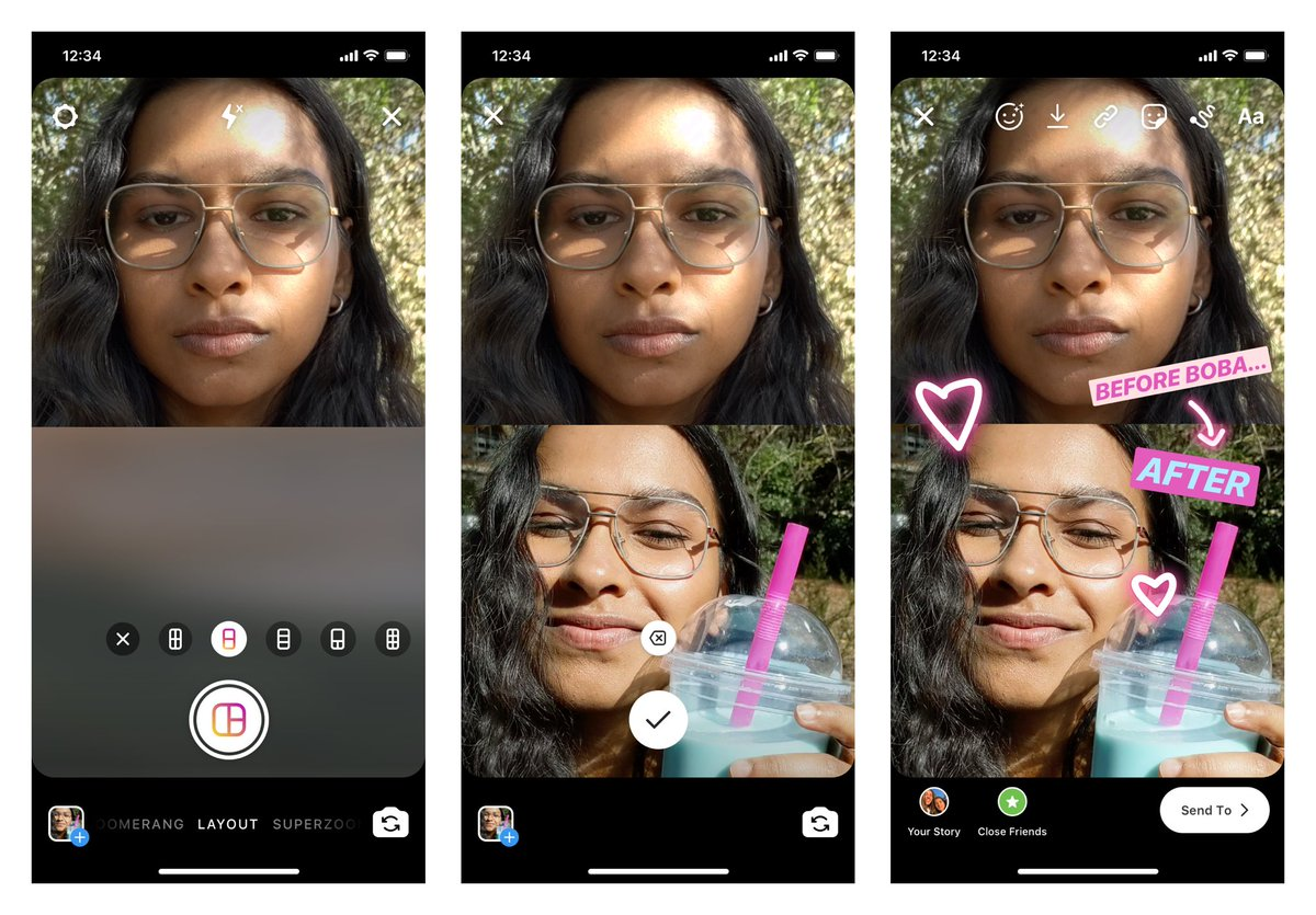 Strike a pose. And another pose. And then another. 📸    With Layout, you can now capture and share multiple photos in your story — a new, creative way to express yourself. Check it out!