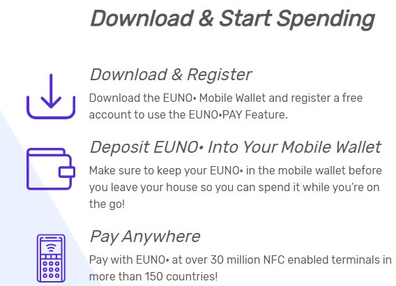 @EunoCoin @EunoForces  #download #EUNO #Wallet on your #mobile #phone  #register your #account #deposit $EUNO in your #mobilewallet make sure you hve $EUNO in your #wallet to spend #anywhere & #pay anywhere with our #NFC #technology & get back #EUNO for spending as rewards  #BTC https://t.co/fwA9WwNtw4