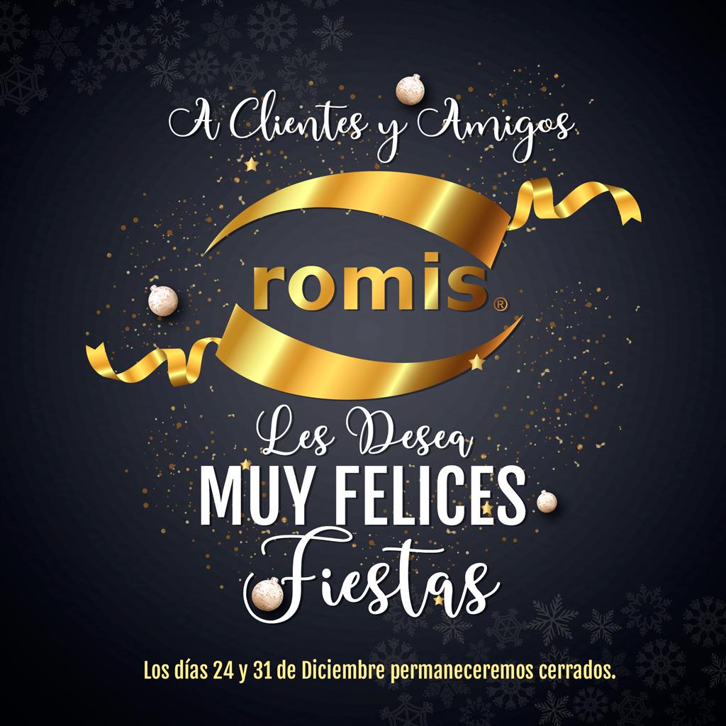 El Equipo De ROMIS S.A. le desea a Clientes y Amigos una Muy Feliz Navidad y un Próspero 2020. Les informamos que los días 24 y 31 de Diciembre permaneceremos cerrados. ¡Felices Fiestas!. https://t.co/afP5R8V1SR