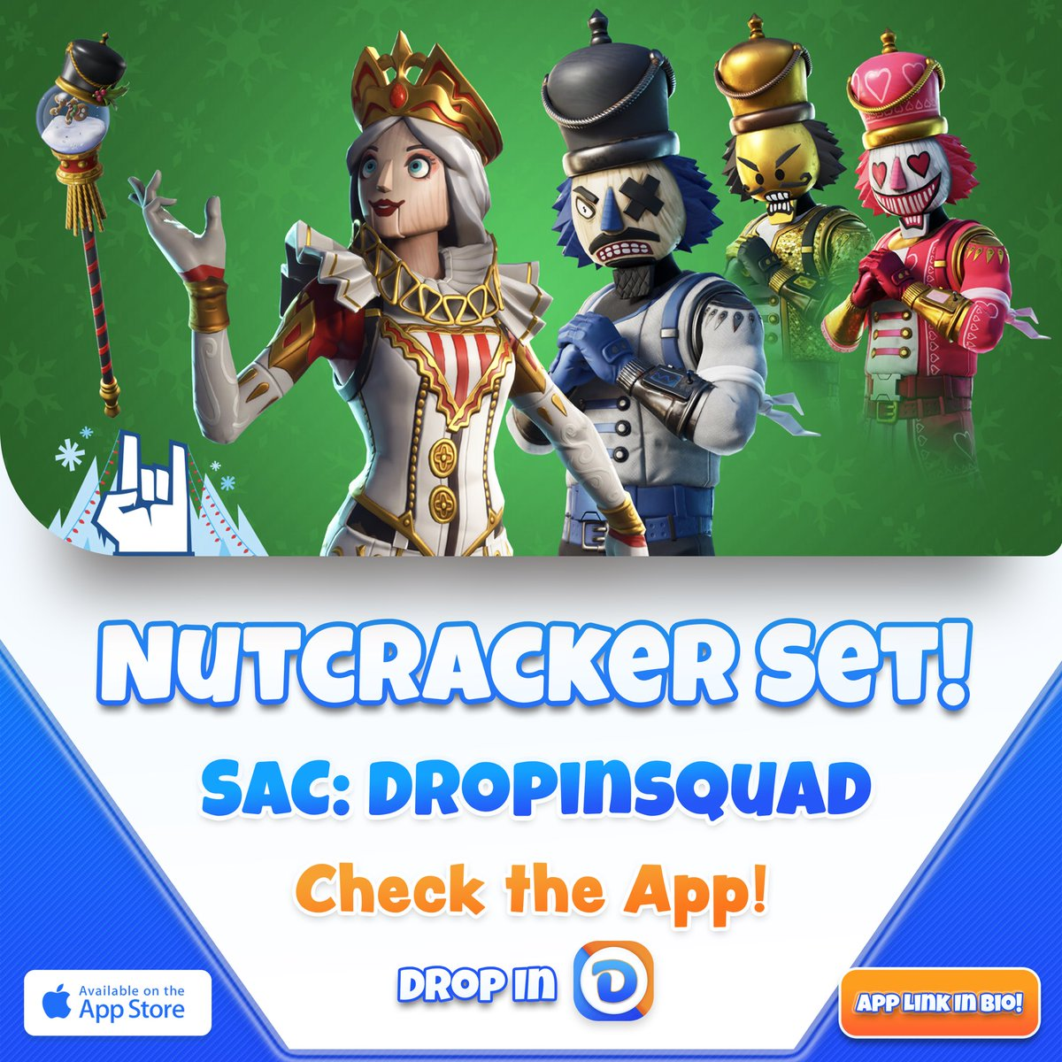 Nutcracker Set  | Use Code DropinSquad if you love our app! - Vote, Share, and Download any skin on the Drop In App! (Link in bio) - #fortnitenutcracker #fortnitedailyshop #winterfestpic.twitter.com/N0OZc8sFyG
