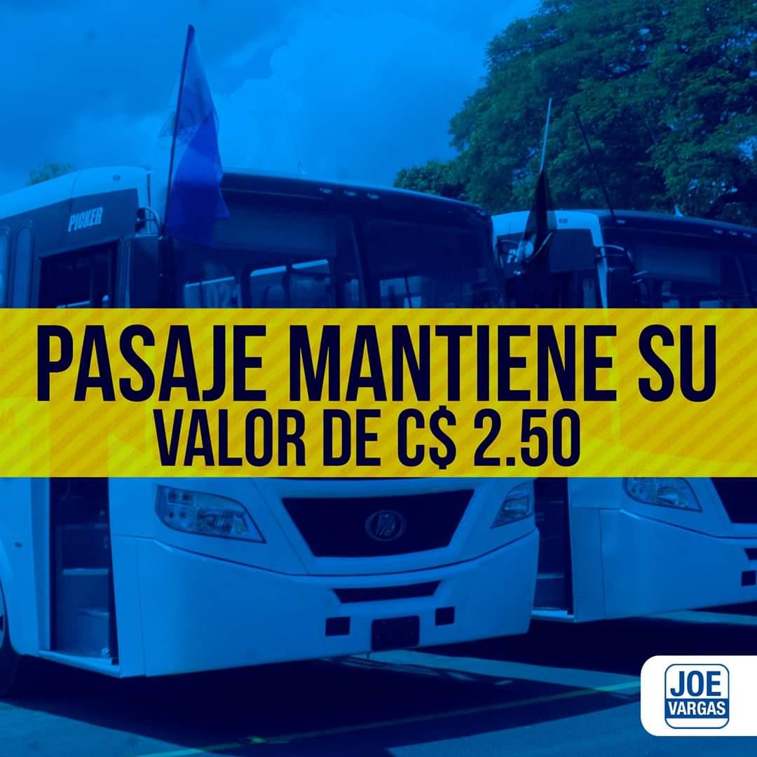 Resultado de imagen de nicaragua mantiene subsidio trasporte