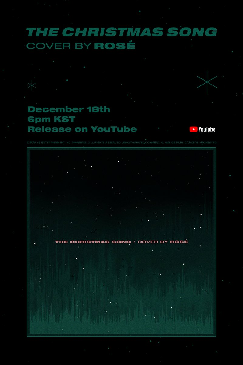 #ROSÉ THE CHRISTMAS SONG COVER TEASER POSTER ✅ 2019.12.18 6PM (KST) #BLACKPINK #블랙핑크 #로제 #THECHRISTMASSONG #COVER #커버 #ORIGINAL_SOUNDTRACK_BY #NATKINGCOLE #YG