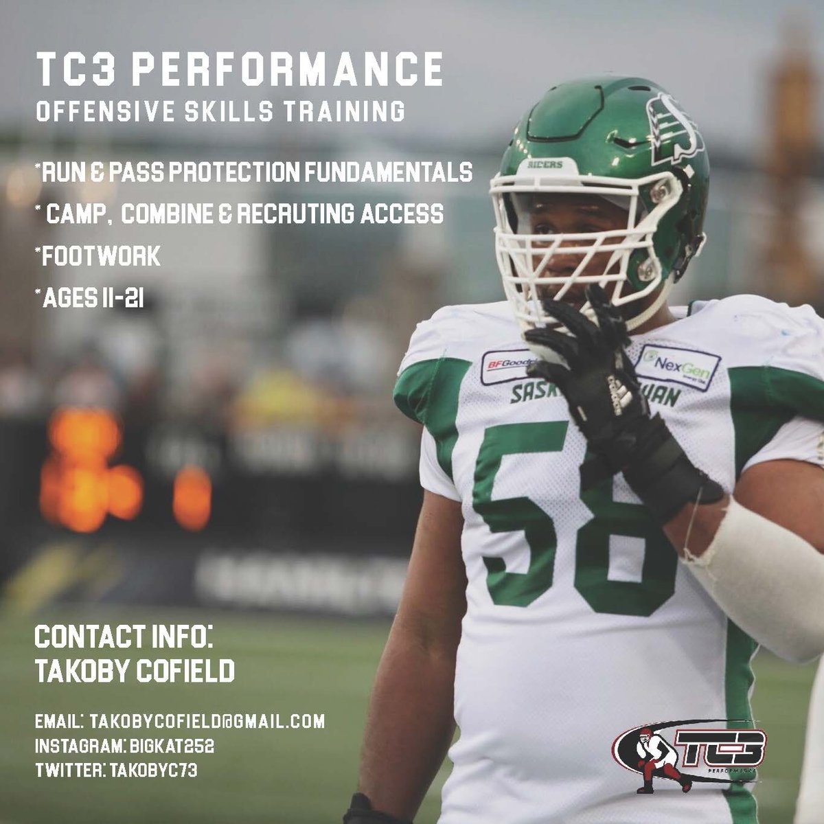 If you're an OLineman and your goal is to improve and one day play at the next level. I'm offering a skills training to enhance and help develop not only your technique but also your overall football IQ. Contact me through any of my social media outlets provided.  Habakkuk 3:19
