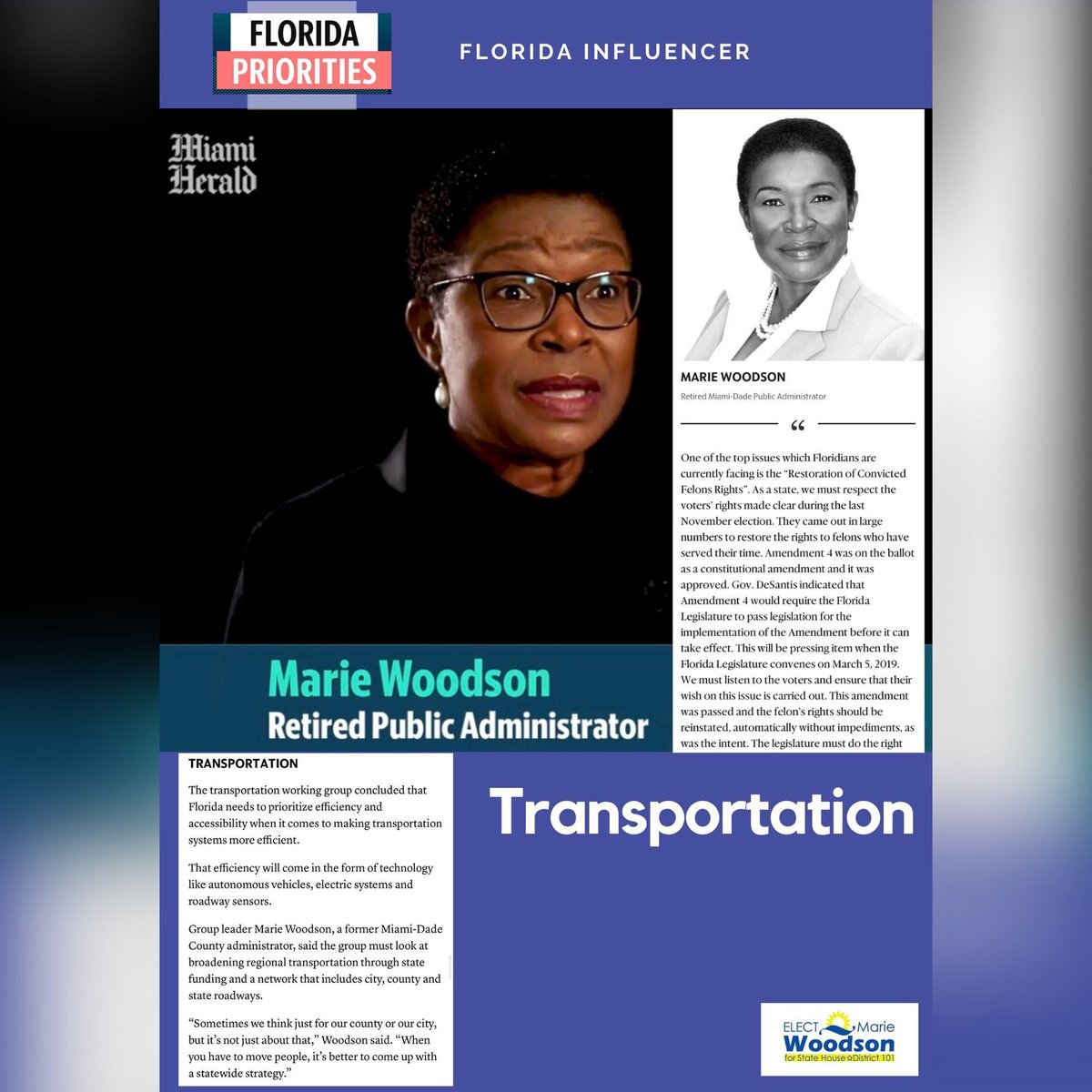 Marie Woodson was chosen as one of the influential leaders in the State to take upon the task of finding ways to discuss and address issues affecting Floridians across the state. A sincere thanks to the Miami-Herald for spearheading such an important initiative! ⁣ #MiamiHerald