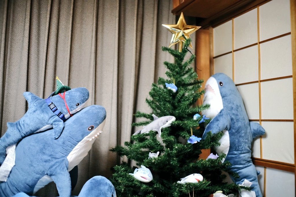 Sharks around a christmas tree
