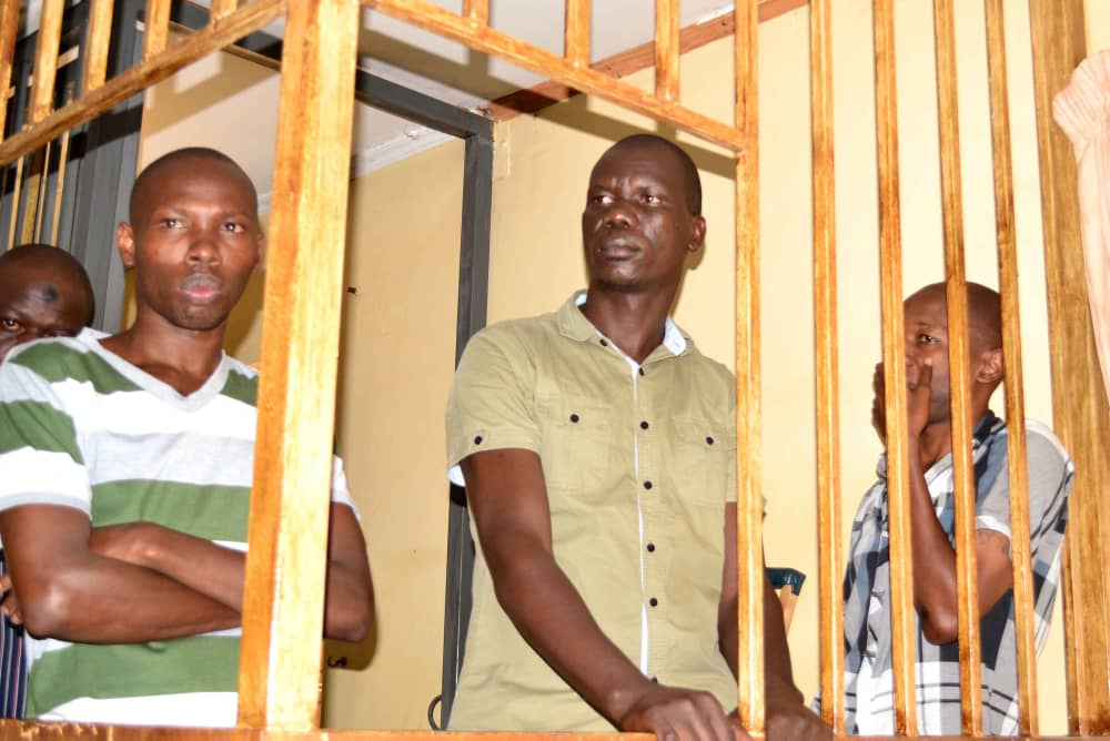 The General Court Martial has sentenced four people to death by hanging after being found guilty of murdering two mobile money agents Moreen Nakabuubi and Harriet Nalwadda from Zanna along Entebbe Road @UPDFspokespersn #MurderCase <br>http://pic.twitter.com/71Tlv9RPVw