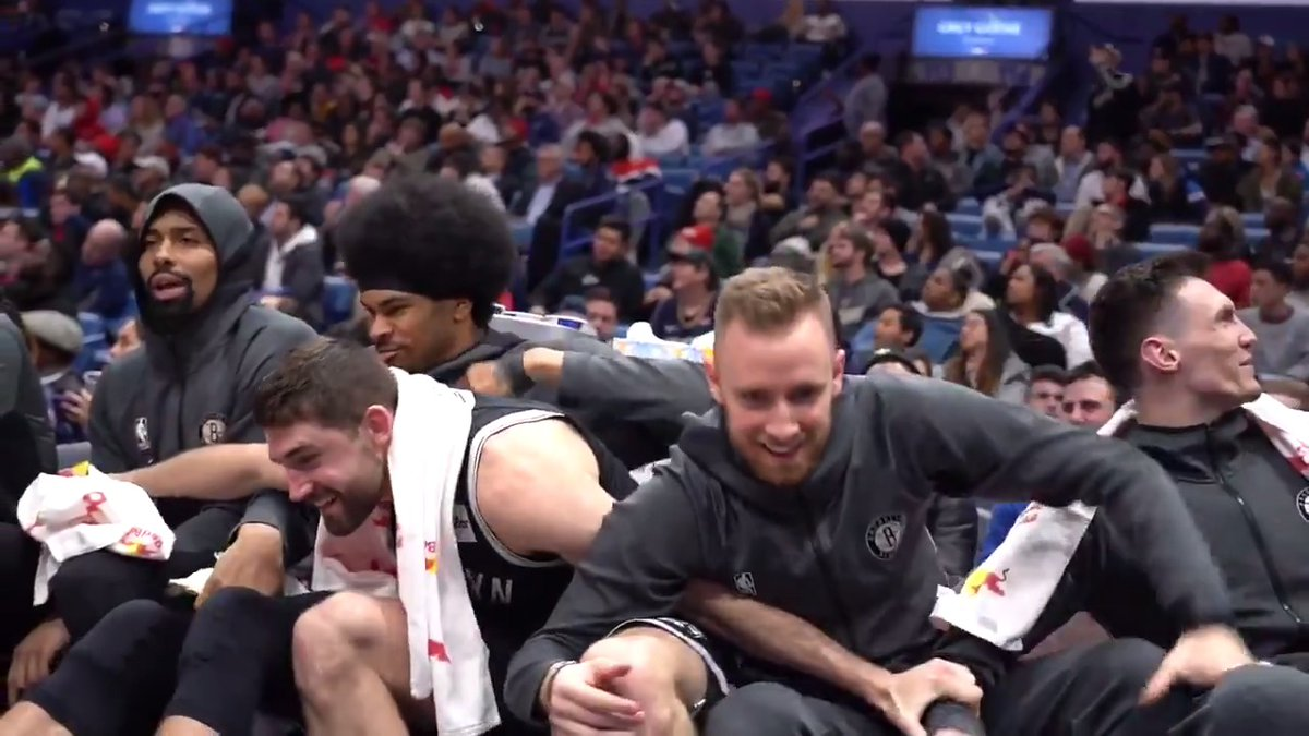 Replying to @BrooklynNets: 🎥 Go on the baseline with the guys for our OT win over the Pelicans  #WeGoHard