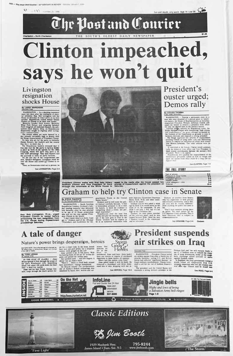 The Post And Courier On Twitter The House Of Representatives Is Set To Vote Today On Impeaching President Trump Almost 21 Years Ago To The Day President Bill Clinton Was Impeached Here S