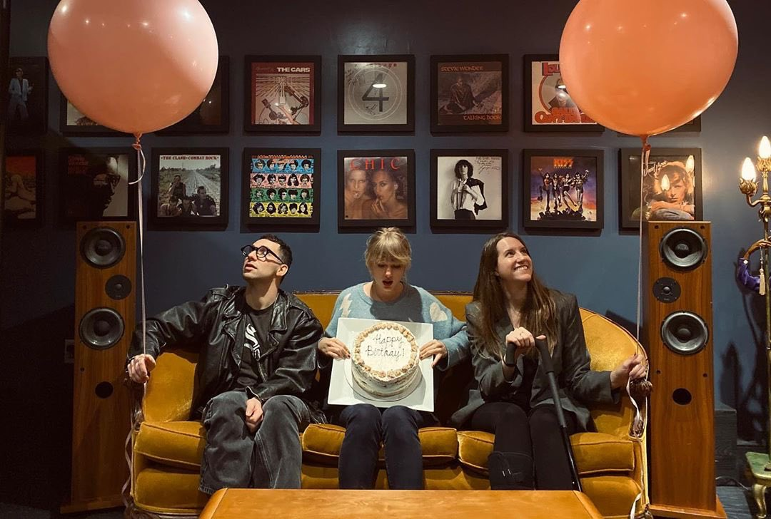 Walked into the studio to a surprise birthday party from these two @jackantonoff & Laura Sisk - it's equally wild and cozy to think it was the three of us in a room making a song called Lover here last year. ♥️