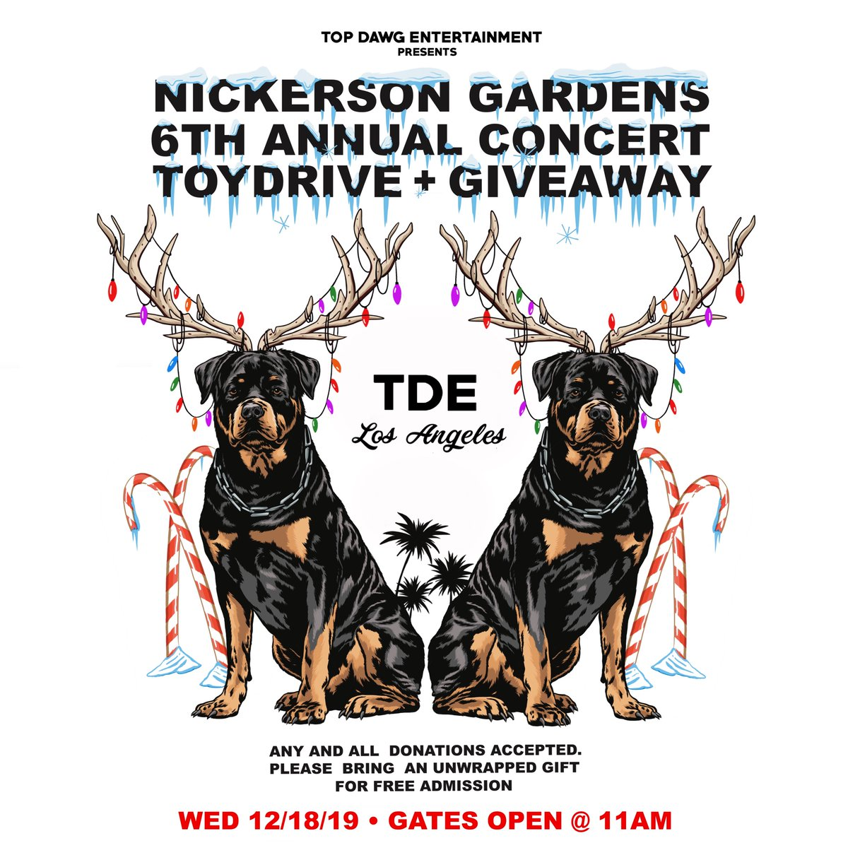 🎅🏾🎄2DAY!!! 6TH ANNUAL TDE XMAS🎄🎅🏾  WED 12/18 • GATES OPEN @ 11AM  BRING AN UNWRAPPED GIFT FOR FREE ADMISSION.🎁🎁🎁 #TDEXMAS19 #TDE