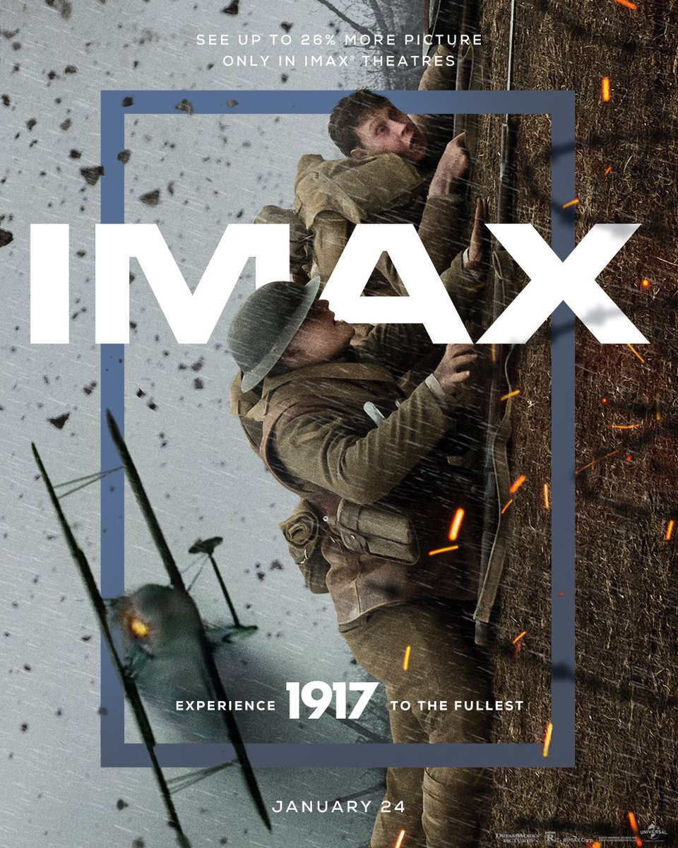 Check out this @IMAX poster for @1917! [Directed by #SamMendes]. The film follows two young soldiers duringWorld War I. Cast: #GeorgeMacKay, @Dean_C_Chapman, #ColinFirth, #MarkStrong, #BenedictCumberbatch, @_RichardMadden.