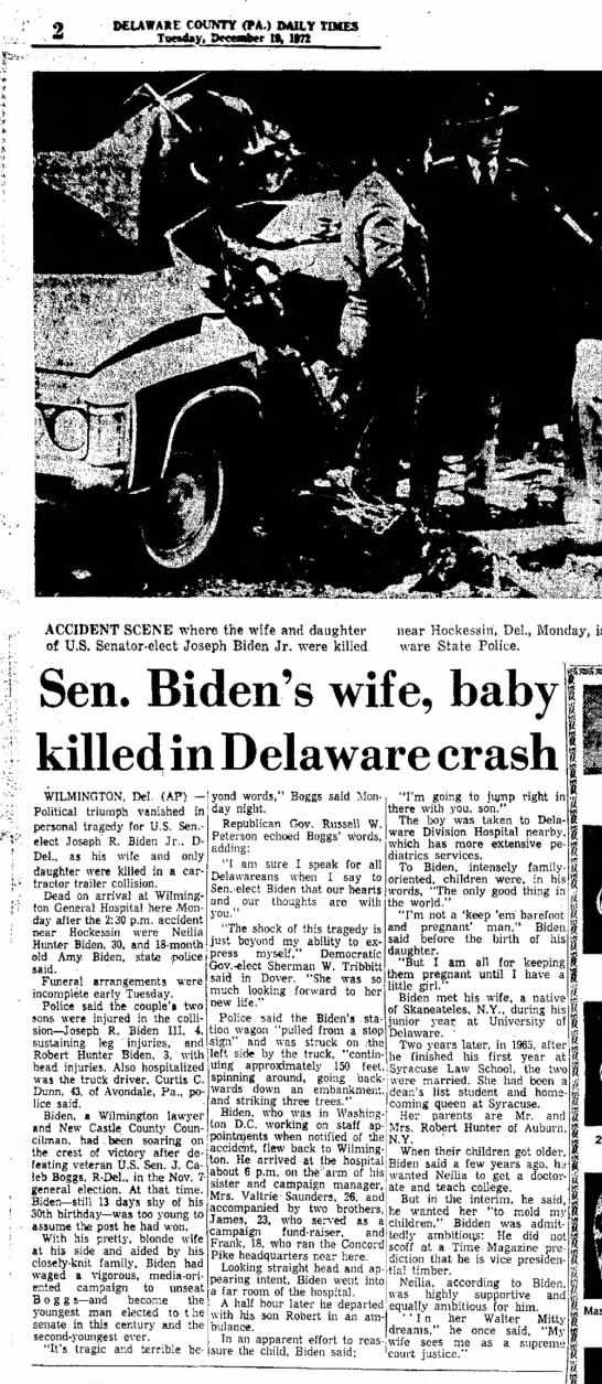 Willie Geist On Twitter Today Is The 47th Anniversary Of The Day December 18 1972 When Joe Biden Lost His Wife Neilia And One Year Old Daughter Amy In A Car Accident