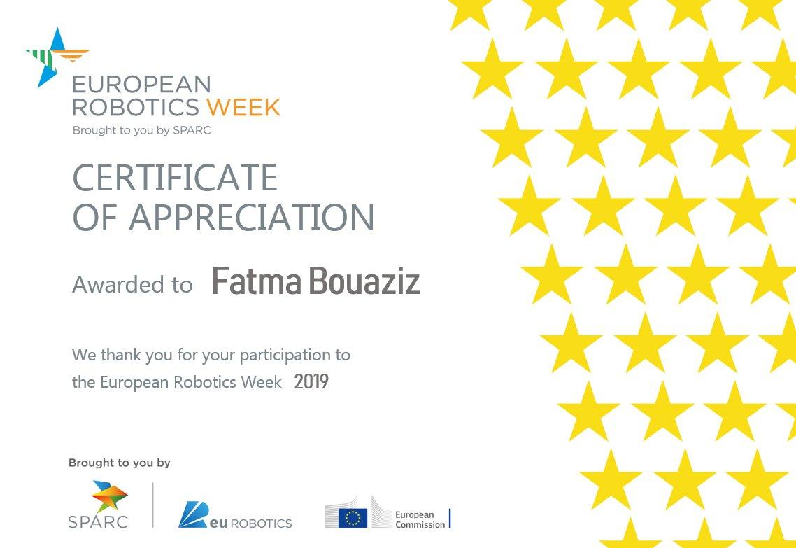 Certificate of appreciation Thanks @eu_Robotics #ERW2019