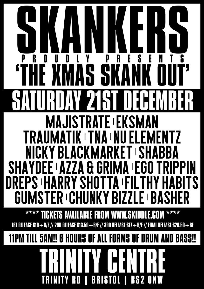 This Saturday IT IS GOING OFF #dnb #drumandbass #skankers #xmasskankout #xmasskankout  #dnb #drumandbass #dnbnation #dnbdance #dnbmusic #dnb4life #jumpupdnb #dnbculture #dnbgirls #dnbradio #dnbarena #dnblover #dnblove #dnbdnbhead #dnbrave #hugoboss #nike #dnbparty #dnbmcpic.twitter.com/OGgZc7ch3D