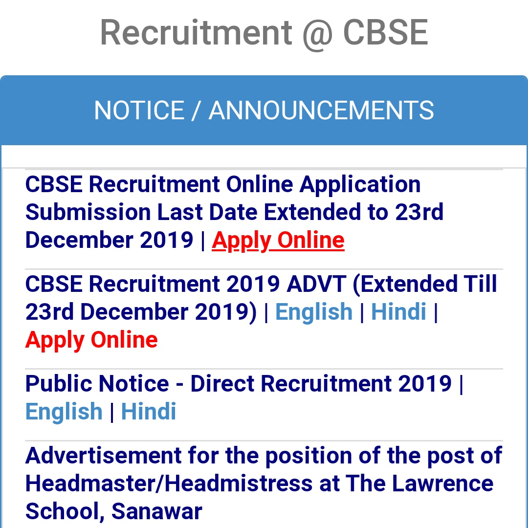 CBSE Job Alert cbse recruitment online application submission date extended by 23rd dec 2019. #job #Recruitment #alert #cbse #delhi #delhigovt #govtjobs #govt #naukri #india #opportunity #sarkari #sarkarinaukri #jobs #notification #results #online #apply #jobupdate #jobfairpic.twitter.com/PlMHnZ7Uh9