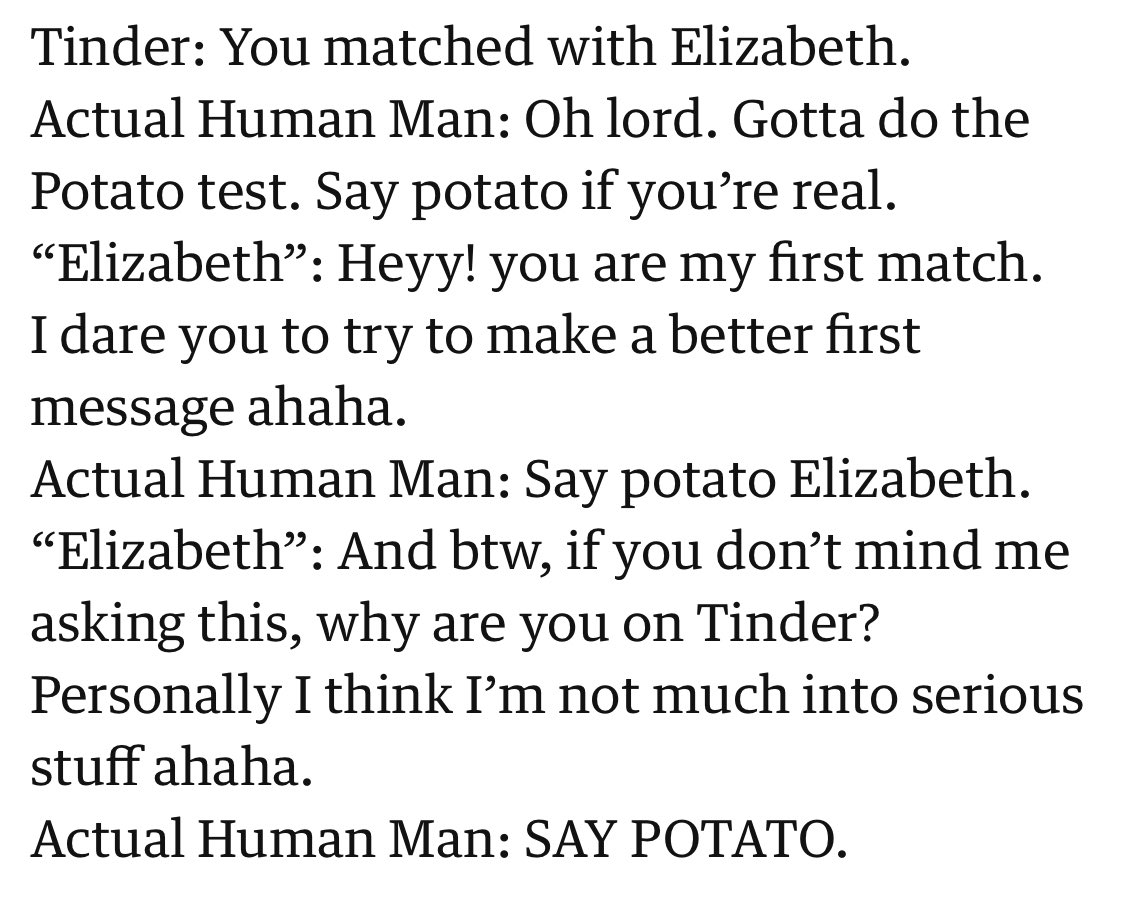 What's the Tinder potato test for troll bots on Twitter? theguardian.com/lifeandstyle/2…