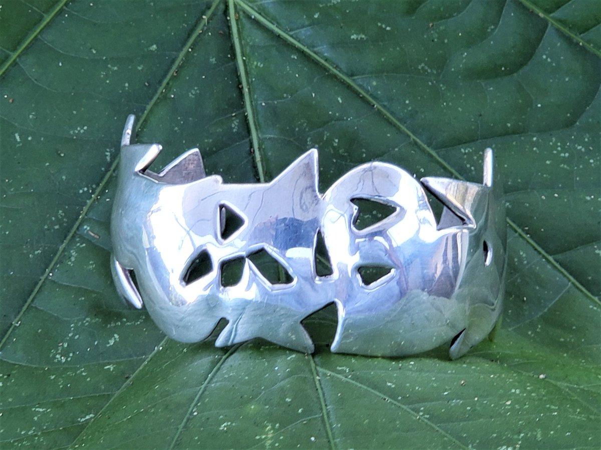 Sterling Silver Hearts and Stars Vintage Jane Mason Santa Fe Cuff Bracelet