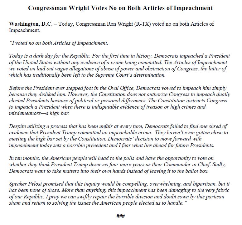 I just voted NO on both Articles of Impeachment. My full statement⬇️