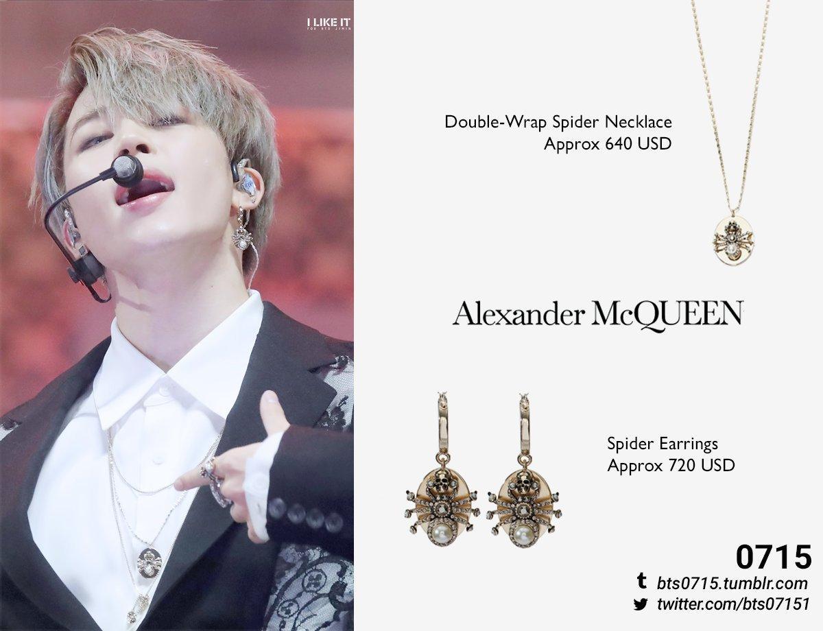 #BTS #방탄소년단 #JIMIN #박지민 #BTSCLOSET #BTSFASHION #BTSatMMA 191130  Alexander McQueen - Spider earrings & Double-wrap spider necklace  @BTS_twt   : @ILIKEIT_JM<br>http://pic.twitter.com/pIxjhK7p2T