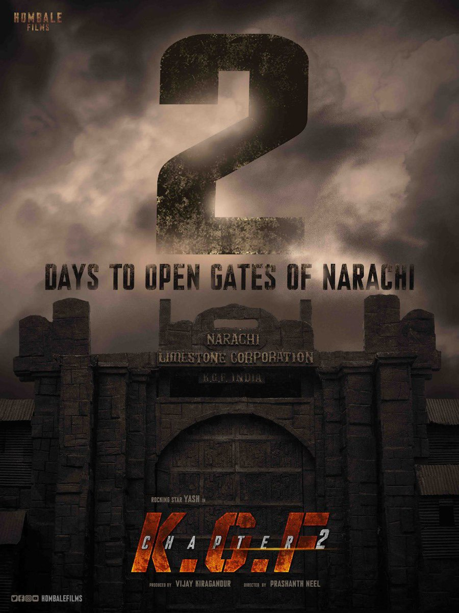 #KGFChapter2FirstLook 2days to go✌️It's a magnum opus.  @hombalefilms @VKiragandur @prashanth_neel @TheNameIsYash @Karthik1423 @VaaraahiCC @excelmovies @SrinidhiShetty7 @bhuvangowda84 digital partner @SillyMonks #KGF #KGFChapter2 https://t.co/BXWviyDbgi
